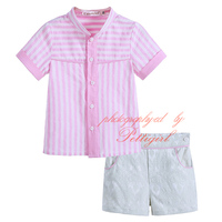 Fashion Baby Boy Stripped Clothing Set With Top and Short Solid Infant Wear Fashion Kids Clothing B-DMCS906-808