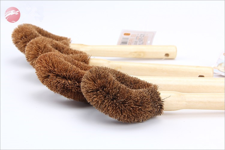 Wooden handle coconut cleaning brush pan and pot coconut brush kitchen dish cleaner brushes