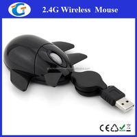 aeroplane shaped wired optical mouse with retractable cable