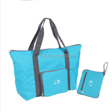 Convenient shopping use 210D nylon material foldable zipper tote bag