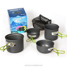 Outdoor Camping Aluminum Cooking Pot Portable Cookware set For 2-3 people Use