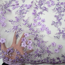 New design purple 3D lace fabric beads bridal beaded sequined lace fabric