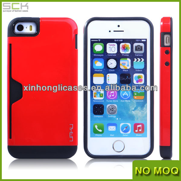 Luxury hybrid tpu&plastic case cover with pocket for iphone 5 5s made in china