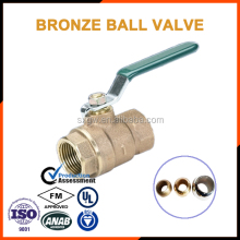 Compression bronze ball valve with level handle