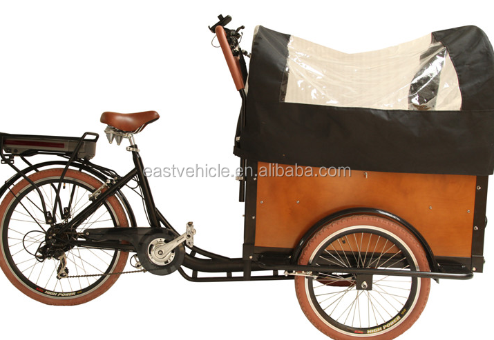 Holland bakfiets for carrying kids three wheel pedal assisted cargo electric bikes for sale