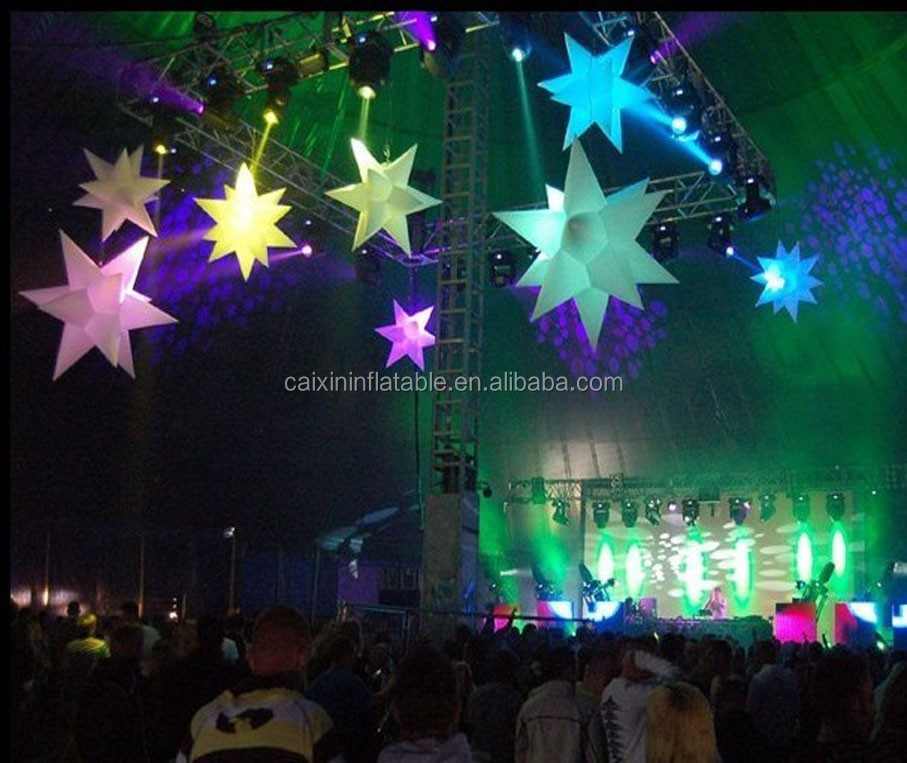 Wedding/event/party/club/hanging inflatable star/inflatable led decoration