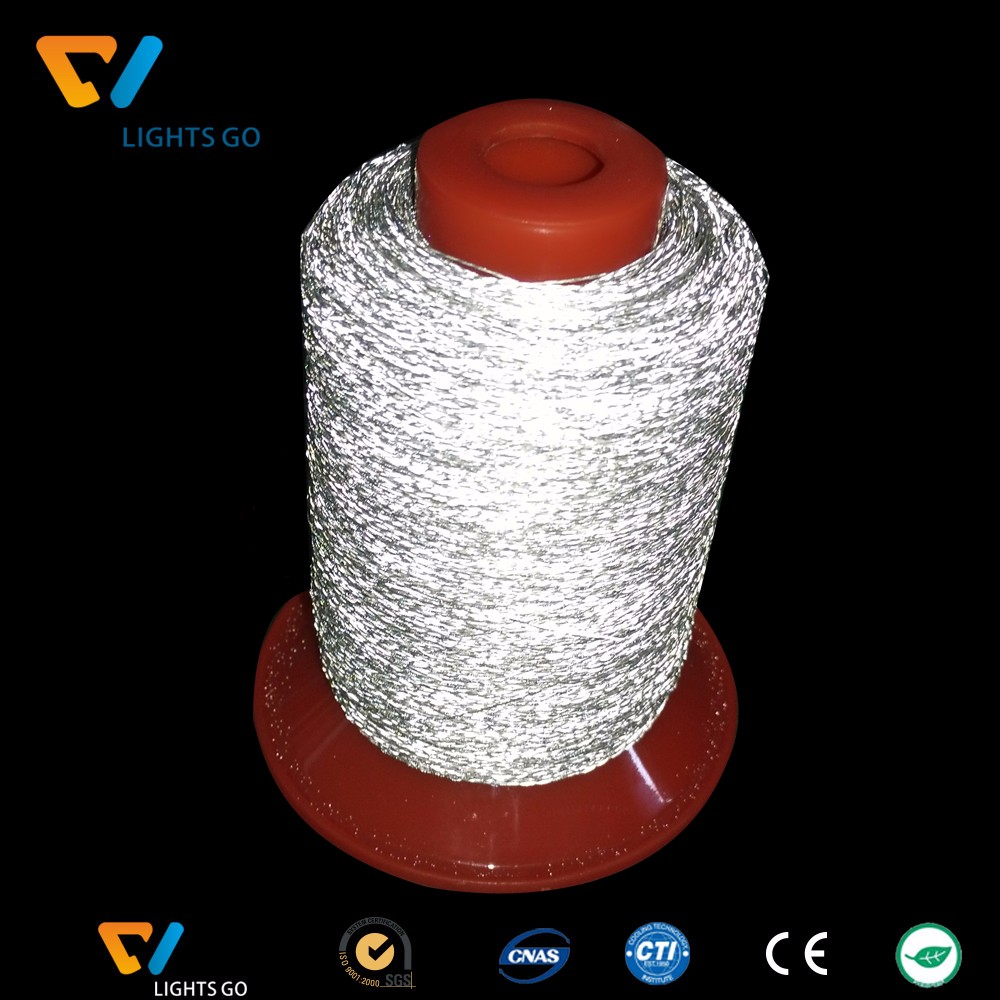 2mm wide double sides reflective PET knitting yarn for making reflective band / 1.5mm single side reflective yarn