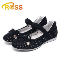 Retail Girls Flat Shoes Slip on Shoes Hollow Out Suede Bowknot Design Sandals Low-cut Work Shoes