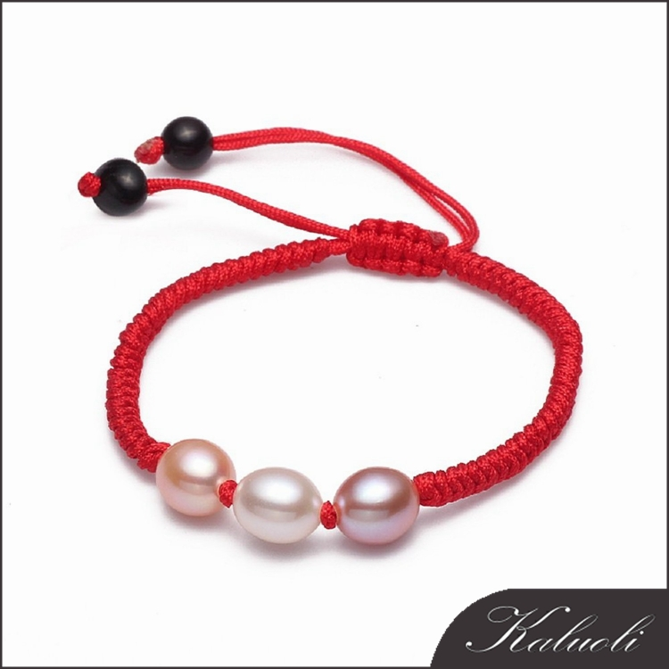Handmade red string knotted real pearl bracelet christmas gifts 2015