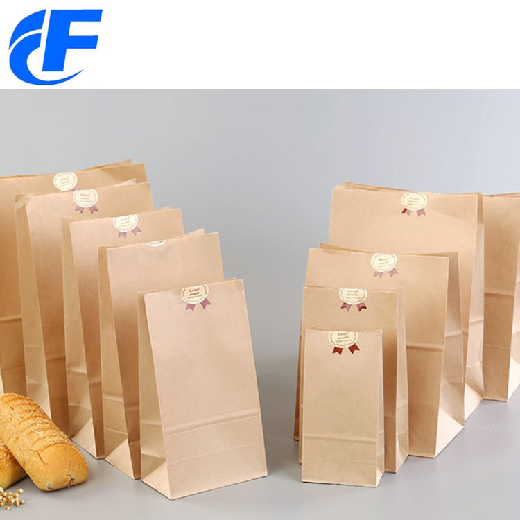 2018 New side gusset fast food cake packaging brown paper bag use in coffee shop
