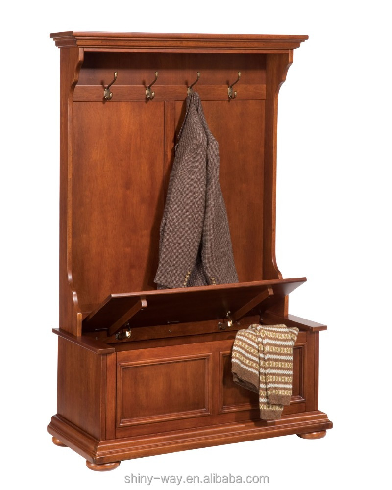 full hall tree & storage bench coat rack with stroage bench wall against valet stand