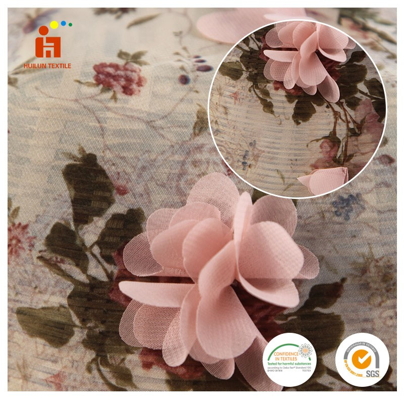 Digital custom printed rose embroidery chiffon fabric with 3D flower applique from online alibaba