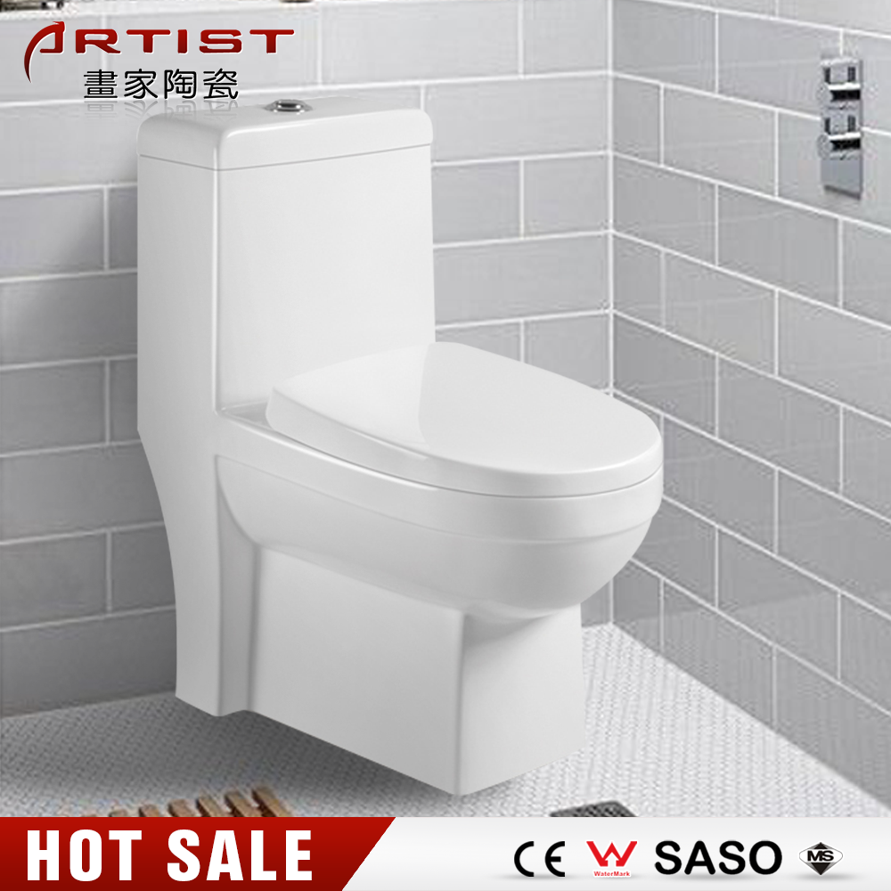 New Style Western Square Floor Mounted P-Trap One Piece Toilet