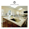Traditional kitchen elegant style white quartz countertop