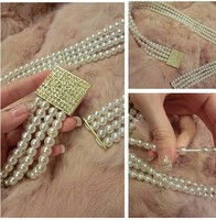 C86188A women fashion pearl beaded belt/summer belts