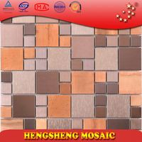Chinese Foshan 8 mm Antique Square Decoration Wall Tile For Hotel Stainless Steel Mosaic Glass craft sticker brick subway