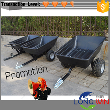 Poly Convertible Push Tow Dump Cart Atv Quad Trailer