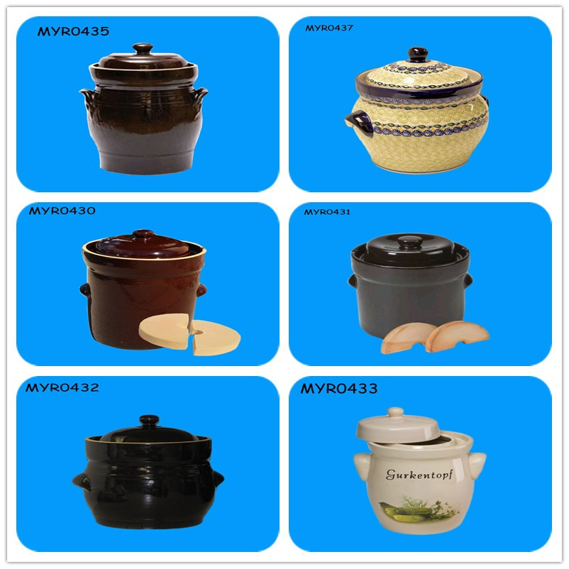 Ceramic Fermenting Light Brown Crock Pots
