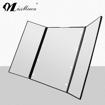Tri-folded portable led lighted cosmetic mirror with stand