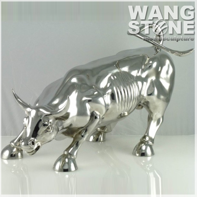 Modern Sculpture Decoration Stainless Steel Animal Bull Statue