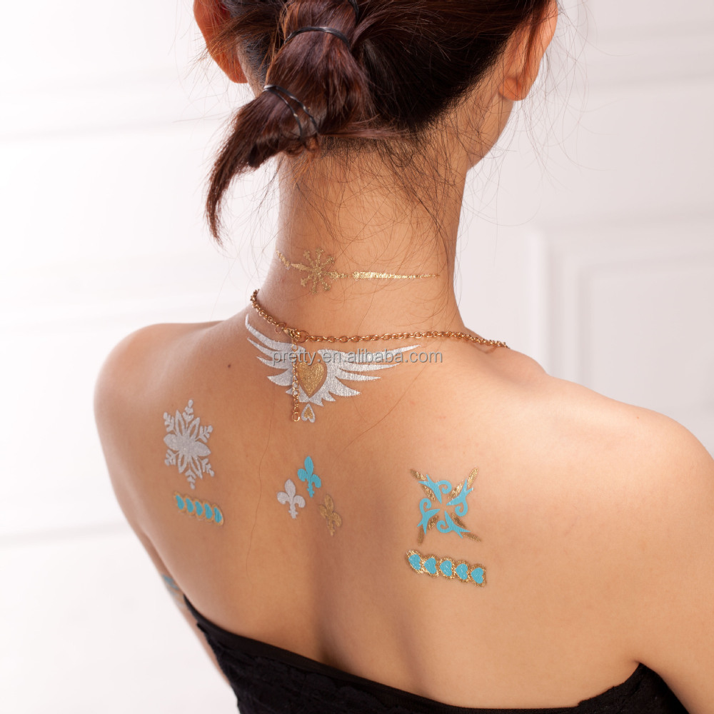 2015 Latest Design Gold Foil Jewelry Tatoos Gold and Siver Tattoo Sticker