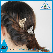 Wholesale fashion gold metal butterfly hair clip