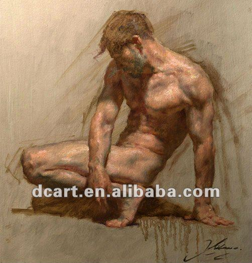 Nude figure oil painting of man
