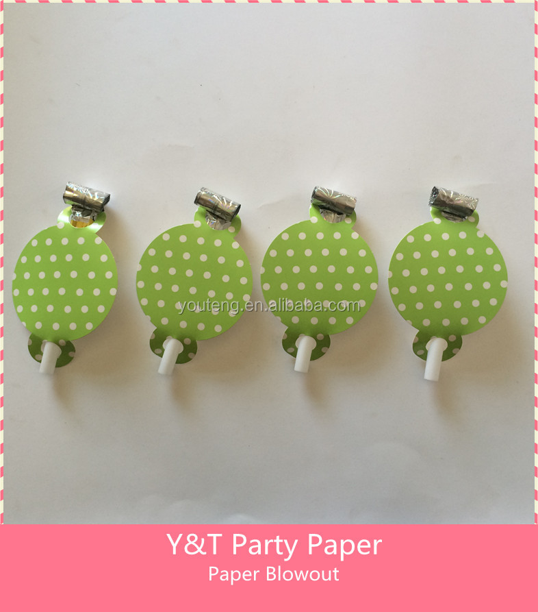 Lime Green Polka Dots Party Paper Blowout Party Paper Noise Makers