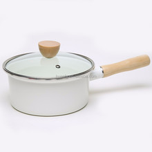 Decal 2L Enamel Cookware Milk Pot and Pan With Glass Lid Cast Iron Enamel Set