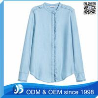 Classy Long Sleeve Blank Fancy Denim Shirt Women