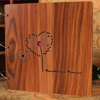 Heart Birthday Wedding Love Wood Carved Photo Album With 3 Rings