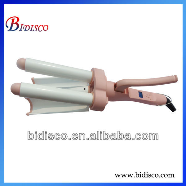 lcd triple barrel/tube hair curling iron with rubber handle for beauty salon equipment