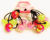 2014 Girls/Baby/Kids Christmas Gift- colored beads kids ponytail holder/hair ties