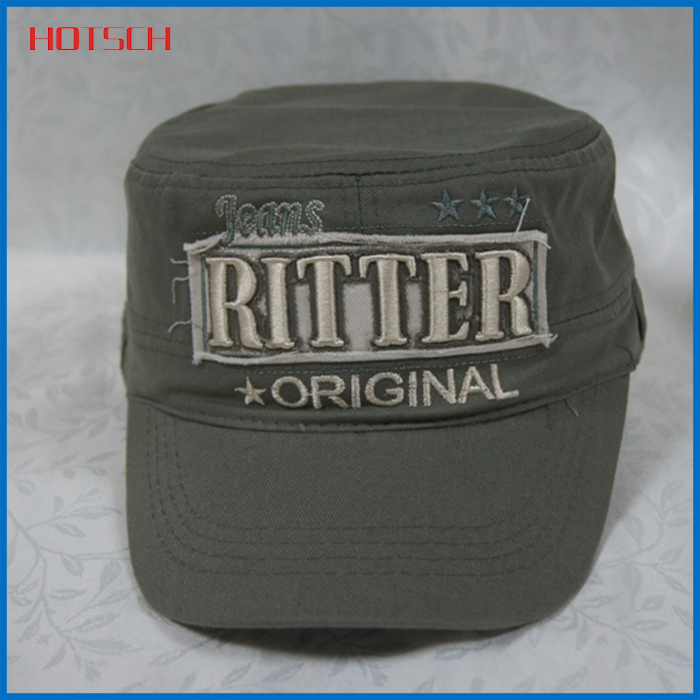 wholesale high quality blank flat top cap military hat