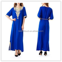 Embroidery gown with belts rayon soft and comfortable plain Abaya Muslim dresses(Mu052001)