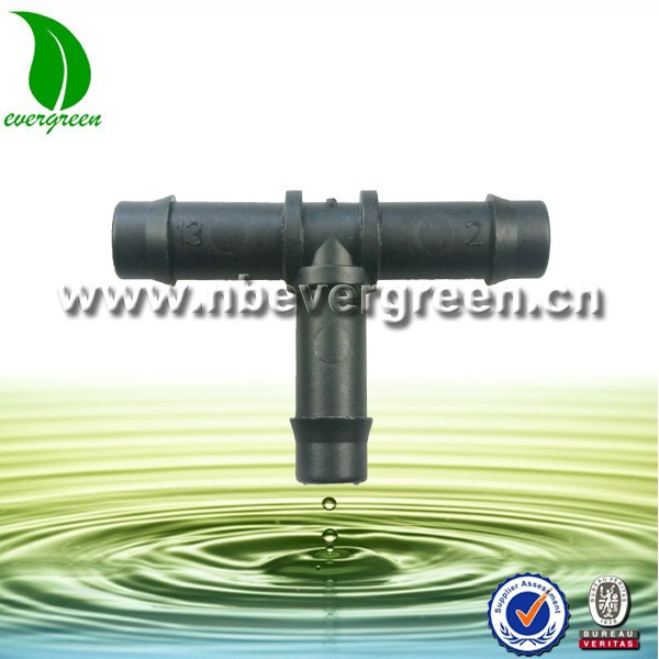 Barbed Plastic Tee Connector / Irrigation Pipe Fitting