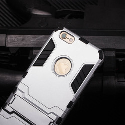 High quality Cool Solid Iron Bear Design Hybrid PC and TPU Stand Case for iPhone 6 Plus ,TPU PC case cover for iPhone 6S Plus