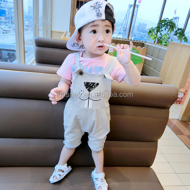 KS10040A New pattern unisex baby cotton shorts cute animal print shoulder belt pants