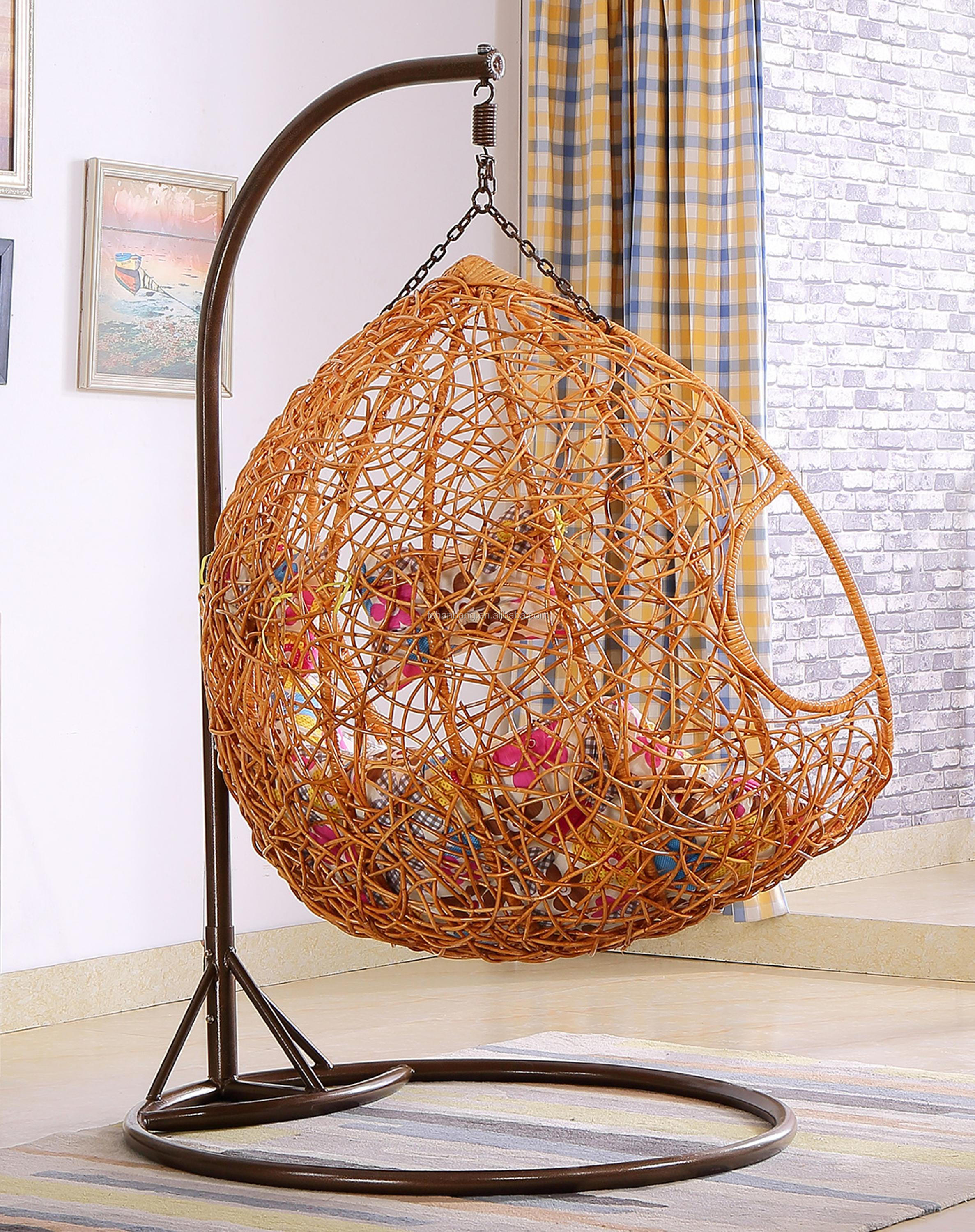 Large Luxury Indoor Two Seat Rattan Hanging Swing Chair