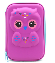 (Purple) Cute Owl Face Hardtop EVA Pencil Case Big Pencil Box With Compartment For Kids