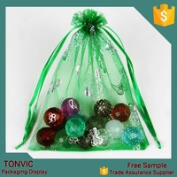 9*7 drawstring organza gift bag jewelry pouch printing custom made with logo 100pieces one bag
