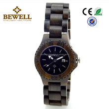 2017 Fashion Bewell or OEM Japan Quartz Movement 100% Natural Handmade Black sandalwood case and Band women's Wrist Wood Watch