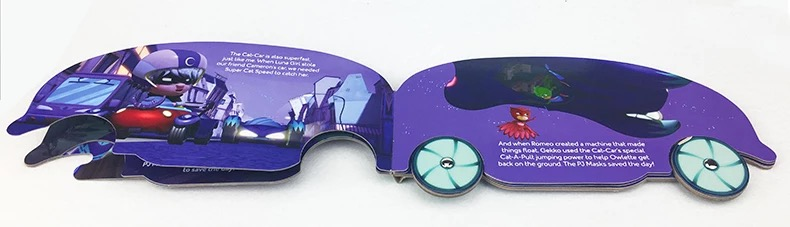 Kids English short story book with car shape design