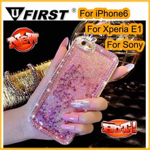 Luxury Diamond Bling Crystal Dynamic Liquid Glitter Stars Bling Quicksand Hard Case For iPhone 6; For Xperia E1 ;For Sony