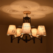 decorative hanging lamp with fabric shades wooden iron ceiling pendant light
