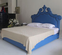 High quality art cloth bed hot-selling solid bed frame king/queen size bed of peacock style