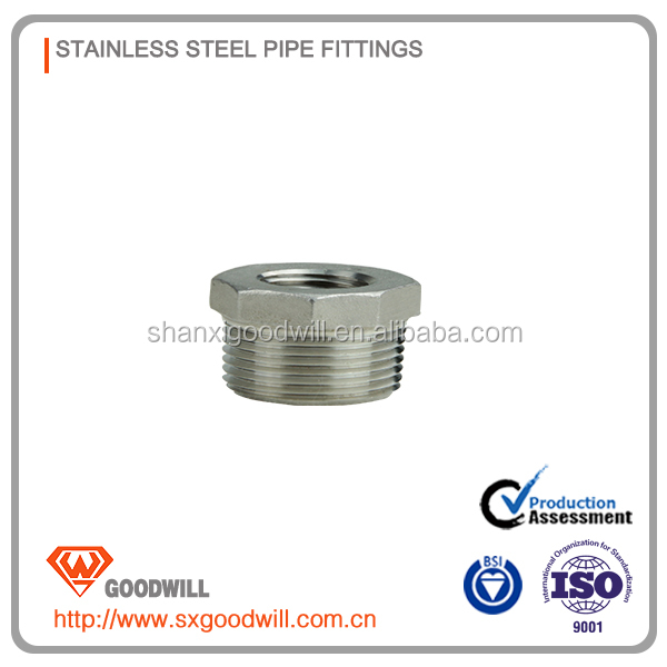 "NEW Carton Fair hot sale 304 stainless steel ISO4144 /EN 10241 /ANSI 1/4-4"" duplex stainless steel pipe price bushing"