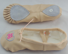 Newest Flexible Girls Pink Flesh Embroidered Leather Ballet Shoes Wholesale
