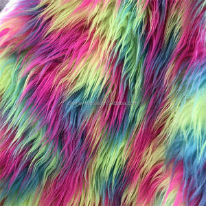 Divine Long pile colorful printed faux fur fabric