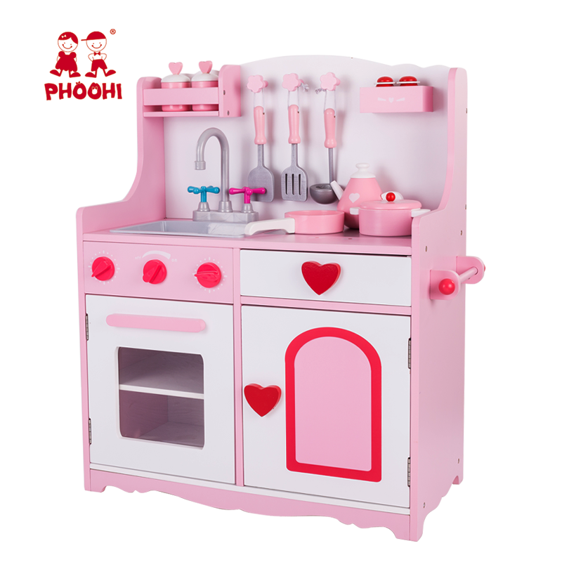 Pretend Children Role Play Toy Pink Stove Wooden Kids Play